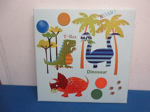 Vinyl over metal dinosaur bulletin board w/magnets 16x16