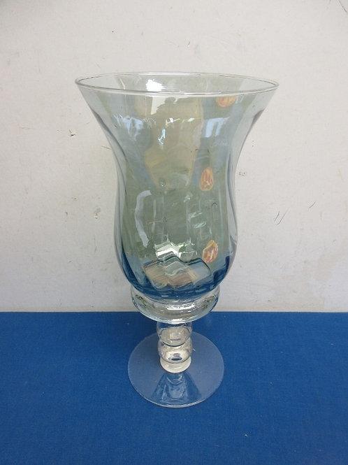 """Large irridescent glass stemmed vase, 13.5"""" high"""