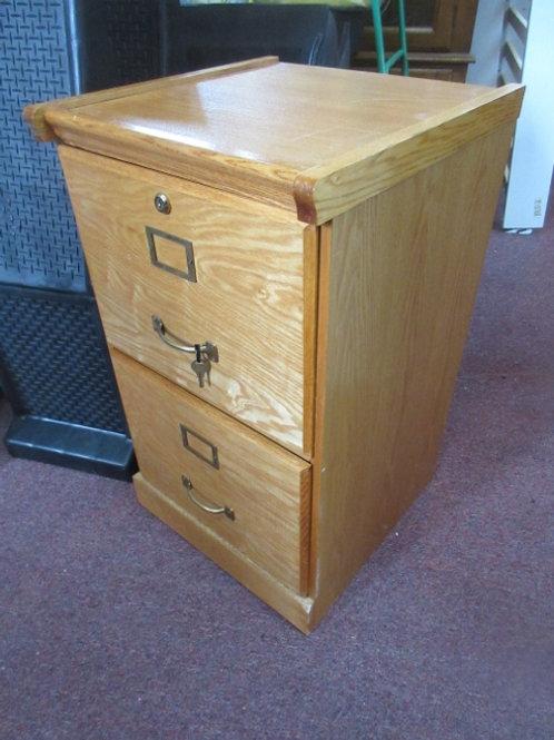 "Oak 2 drawer file cabinet with Key, & file folder racks, 16x17x28""high"