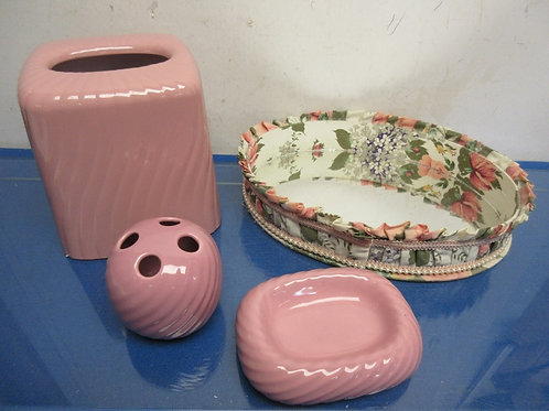 Pink 4 pc bathroom set, soap dish, tooth brush holder, tissue cover, mirror tray