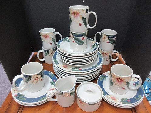 Savannah Grove Stoneware, 31pc dinnerware set, complete service for 6, some wear