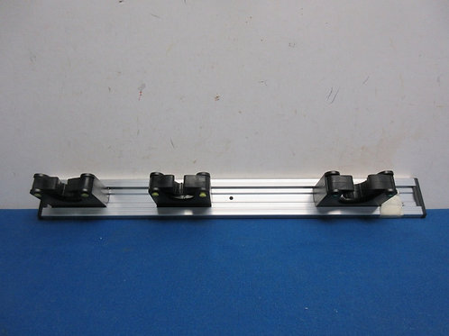 Aluminum wall mount with 3 plastic holders for long handle tools