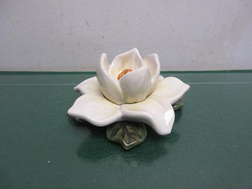 """Ceramic magnolia, 8"""" diameter, 3"""" tall"""