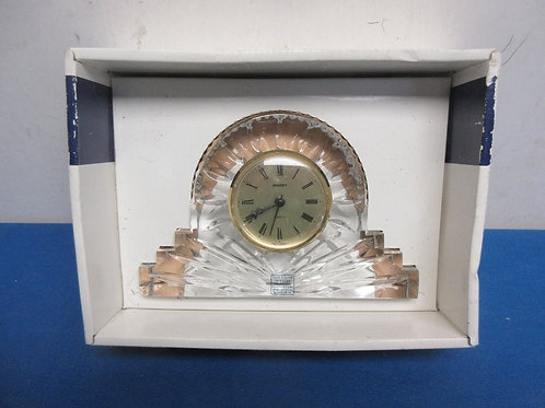Heavy leaded crystal desk clock in box - needs battery