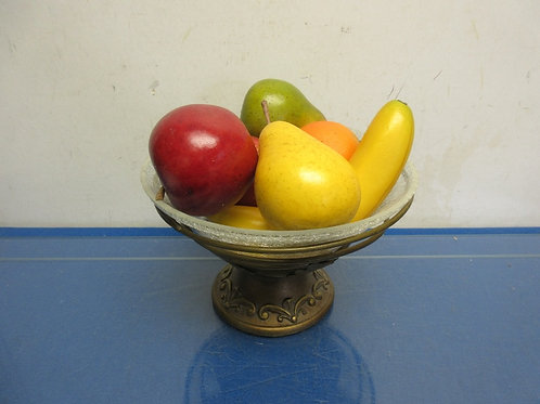 Gold footed crackled glass fruit bowl filled with plastic fruit