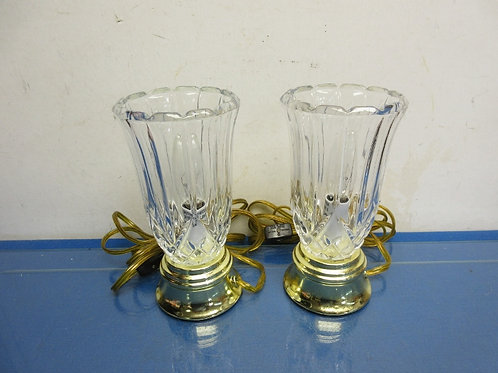 """Pair of gold base, etched crystal torch style table lamps, each 8"""""""