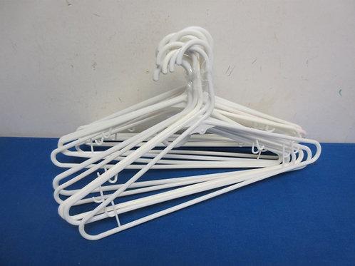 Set of 14 white plastic hangers