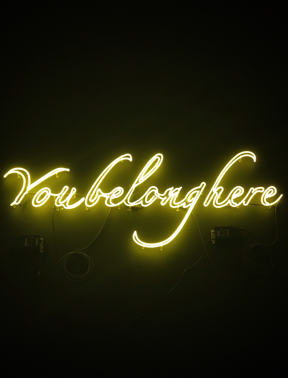 """""""You Belong Here"""" spelled out in neon lights."""