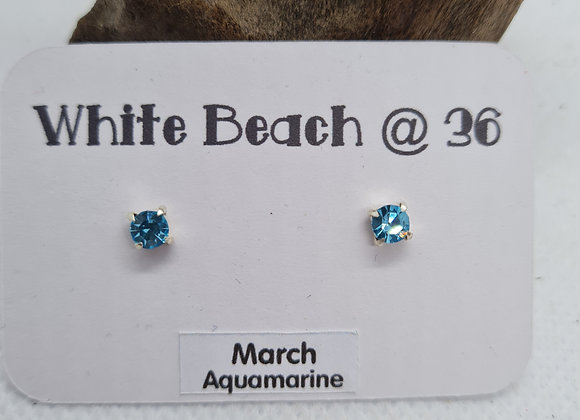 Sterling silver birthstone studs March