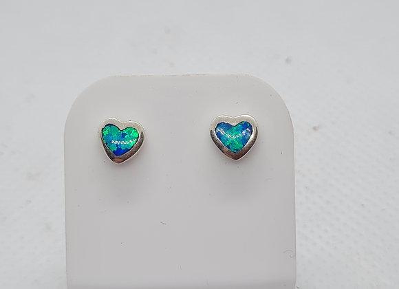 mini heart opal studs