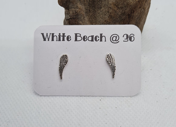 Sterling silver long wing stud earrings