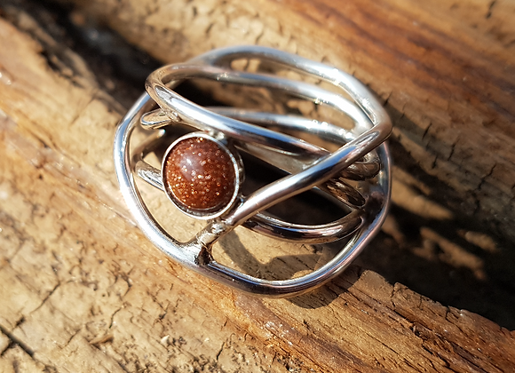 Sterling silver birds nest ring