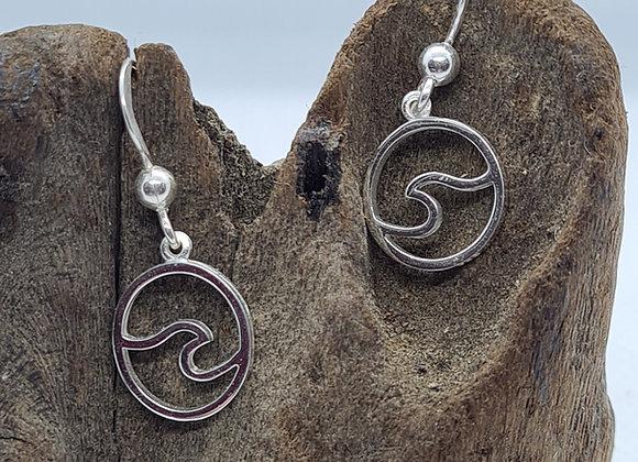 Single Wave sterling silver drop earrings
