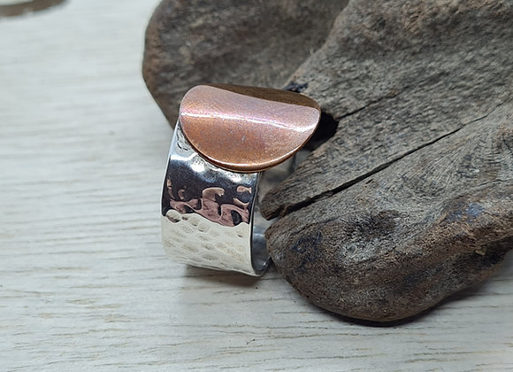 Sterling silver ring with Copper disc