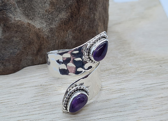 Sterling silver and amethyst pinch ring