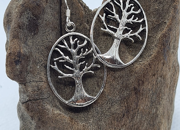 Tree of Life sterling Silver oval drops