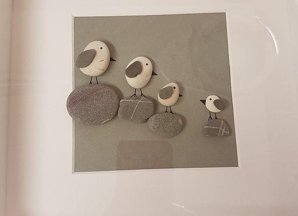 Seagulls on rocks pebble art