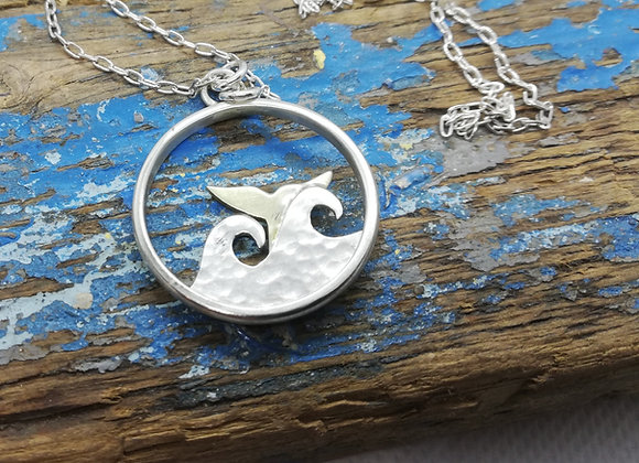 Waves and whaletail pendant