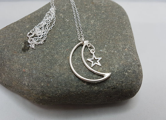 Handmade moon and stars necklace