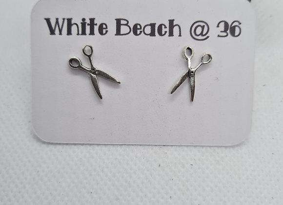 Sterling silver Large Scissors stud earrings