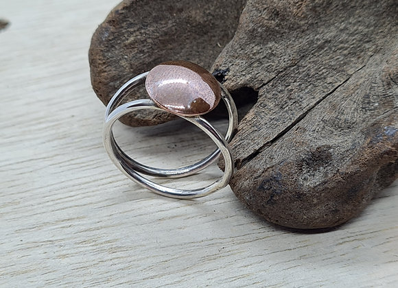 Open sterling silver and copper disc ring
