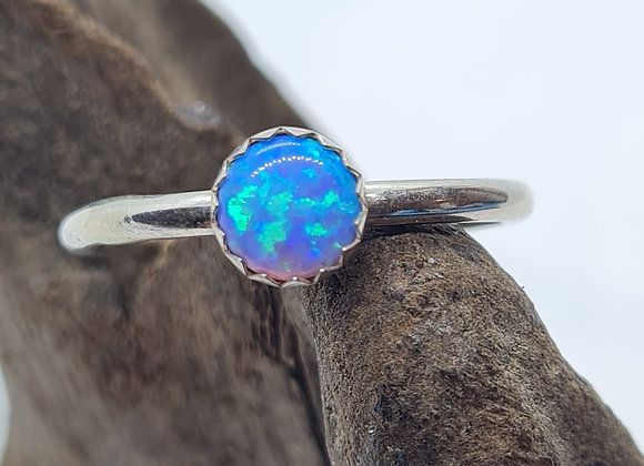 round blue opal ring