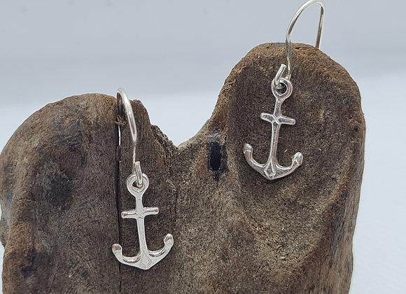 Cute anchor sterling silver drop earrings