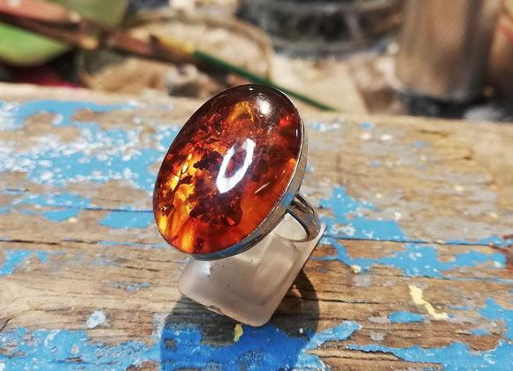 Wide band Handmade Amber ring