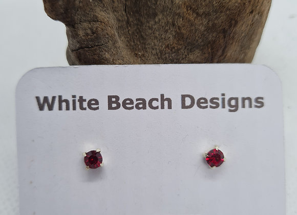 Sterling silver birthstone studs July