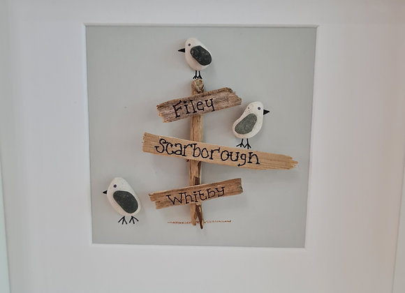 Pebble art sign