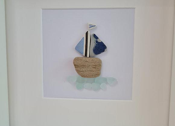 Pebble art boat