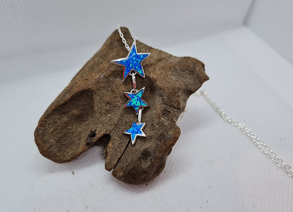 Opal and sterling silver star necklace