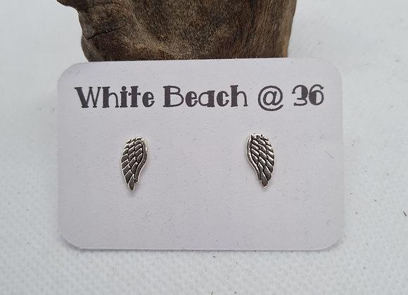 Sterling silver wing stud earrings