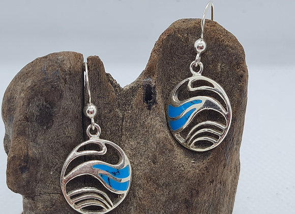 Turquoise wave inspired drop earrings