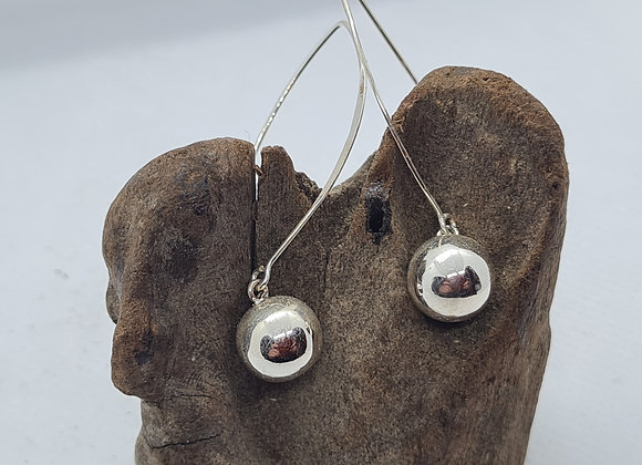 Long sterling silver ball drop earrings
