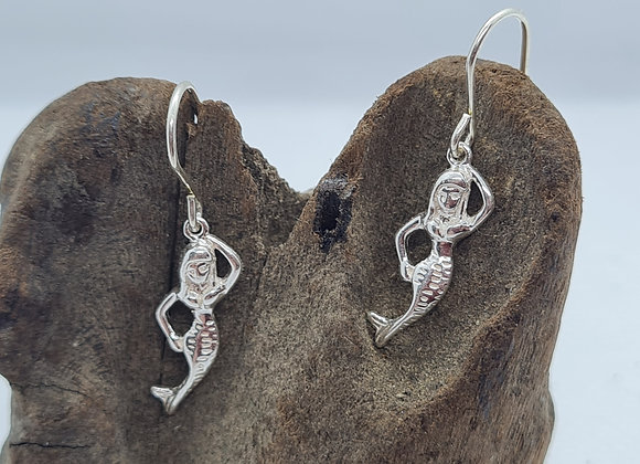 Mermaid sterling silver drop earrings