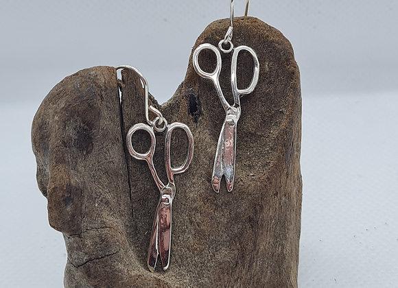Quirky sterling silver scissors drop earrings