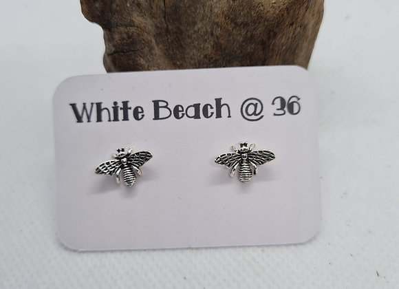 Large Sterling silver Bee stud earrings