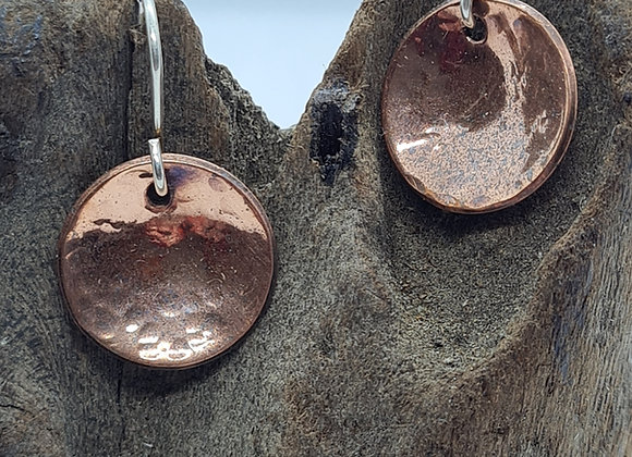 Handmade copper disc drops