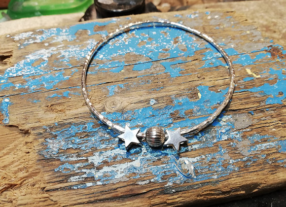 Star bangle sterling silver
