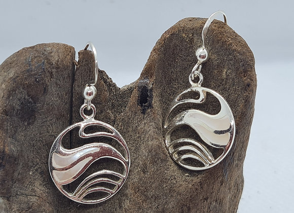 Mother of pearl wave inspired drop earrings