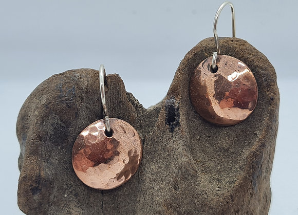 Handmade copper and sterling silver disc drop earrings