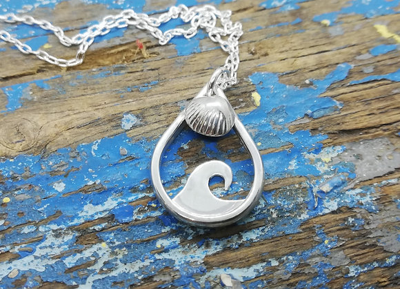 Wave and shell pendant