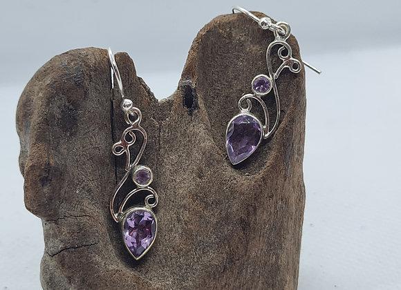 Amethyst crystal arty drop earrings