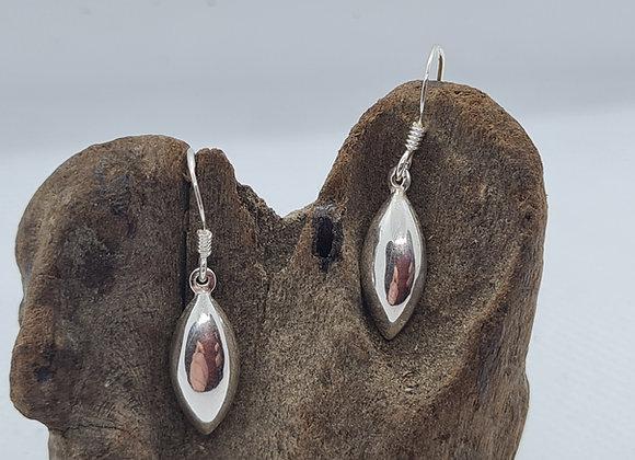 Puffed oval sterling silver drop earrings