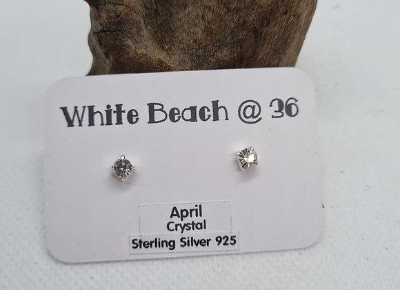 Sterling silver birthstone studs April