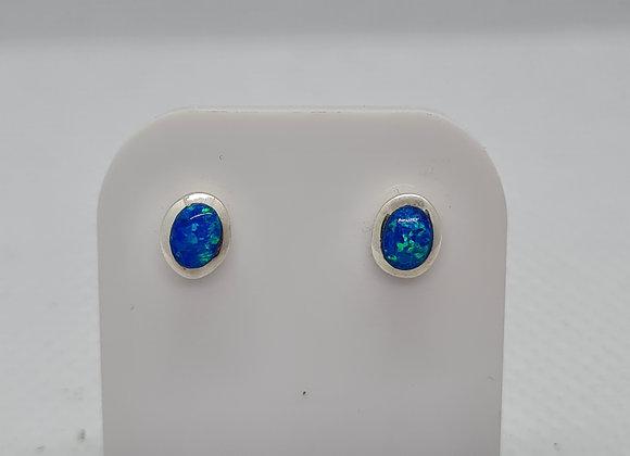 Blue opal oval studs