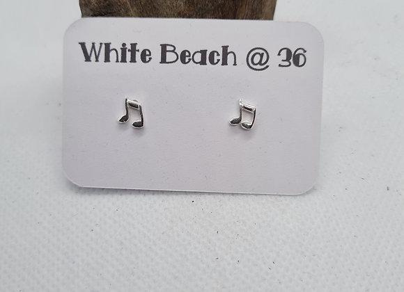 Sterling silver Music Note stud earrings