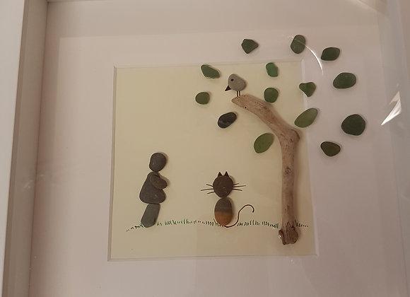 Cat under a tree pebble art
