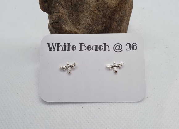 Sterling silver tiny bee stud earrings